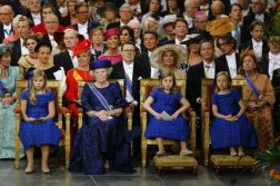 epa03682375 (L-R) Dutch Princess Catharina-Amalia, Royal Highness Princess Beatrix, Princess Alexia and Princess Ariane attend the investiture of new Dutch King Willem-Alexander at the Nieuwe Kerk in Amsterdam, The Netherlands, 30 April 2013. Royal Highness Princess Beatrix of the Netherlands in an official act on 30 April signed her abdication to leave the Dutch throne to her son Prince Willem-Alexander who becomes the new King of the Netherlands the same day. Dutch King Willem-Alexander becomes the first male monarch in the country in 123 years. EPA/MICHAEL KOOREN / POOL
